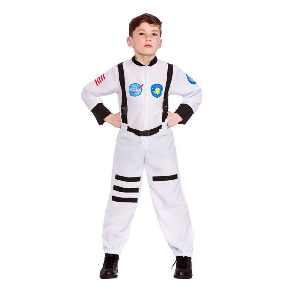 Childrens Boys Moon Mission Astronaut Costume for Nasa Space Pilot Fancy Dress